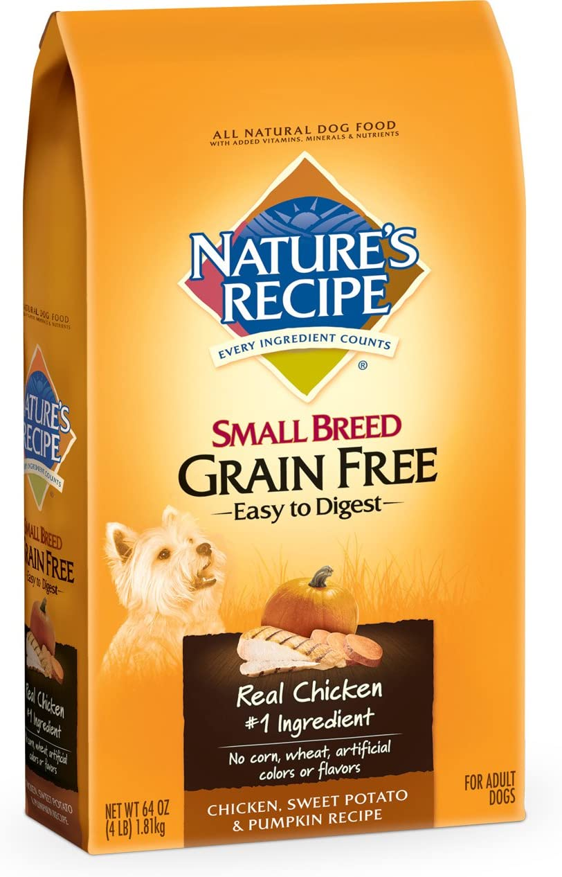 Nature S Recipe Small Breed Grain Free Easy To Digest Chicken, Sweet Potato Pumpkin Recipe Dry Dog Food, 4-Pound