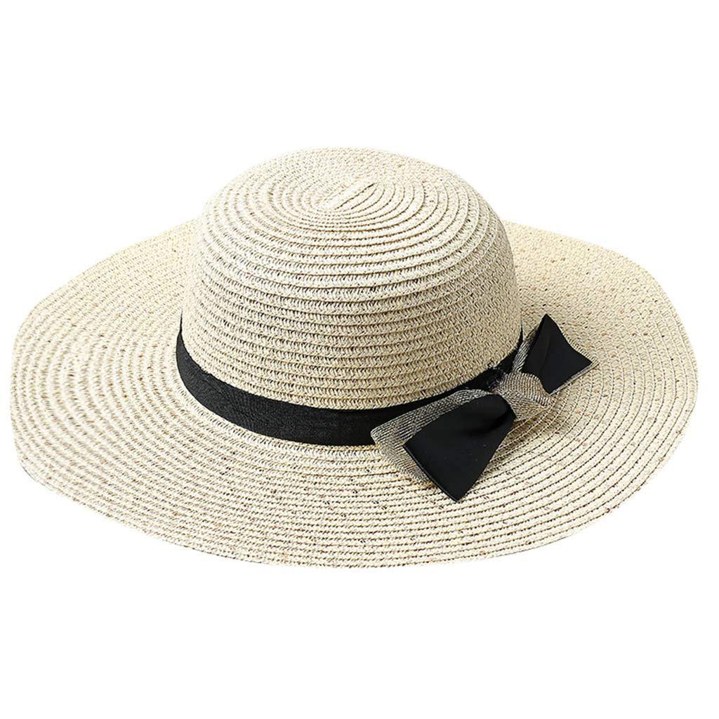Muium/_Chapeau de Paille de Soleil Pliable Femme Panama D/écor N/œud Visi/ère d/Ét/é Protection Anti UV de Beachwear Voyage
