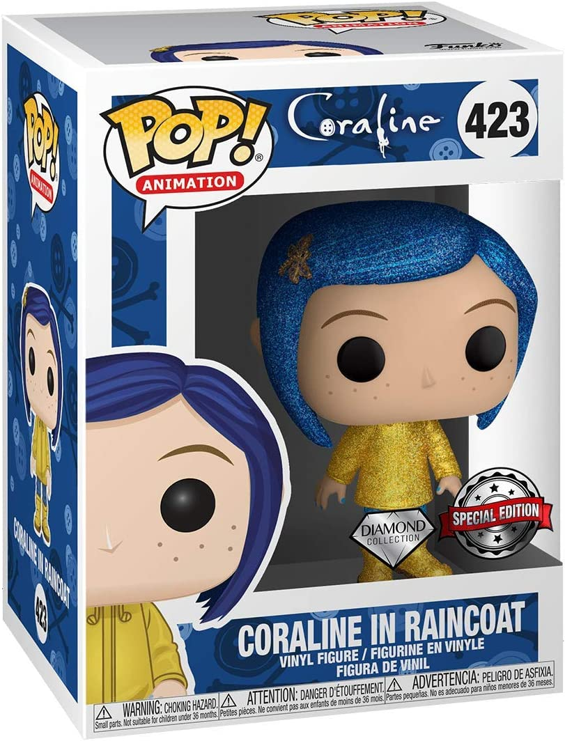 Amazon Com Funko Pop Movies Coraline Coraline In Raincoat Diamond Edition Exclusive Toys Games