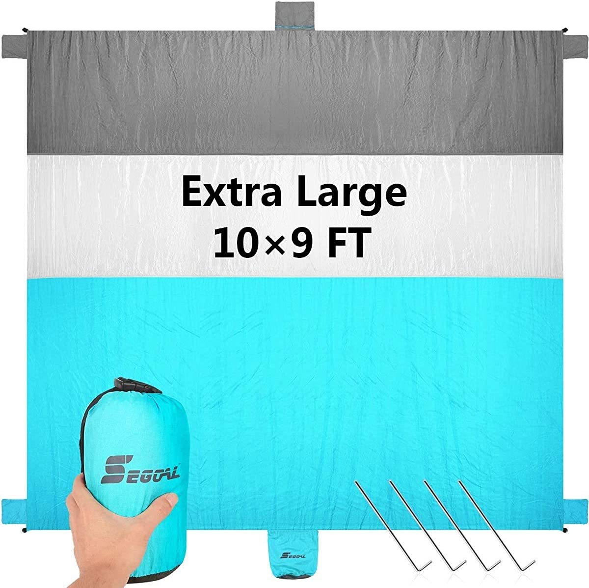 Hiking Waterproof Outdoor Picnic Mat for Beach Machine Washable OCOOPA 10X 9 Extra Large Beach Blanket Camping Music Festival Soft Lightweight Pocket Blanket