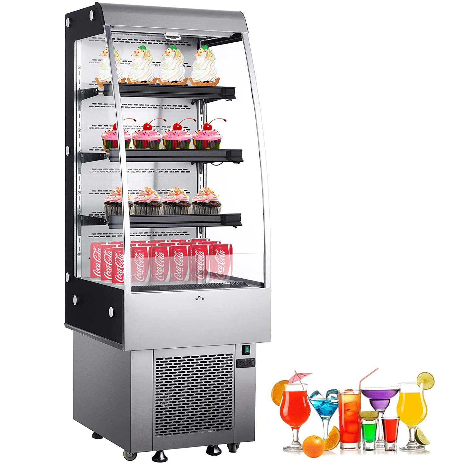 VBENLEM 27 inchs Stainless Steel Intelligent Self Contained Open Refrigerator 250L Commercial Display Cooler Case with LED Light Suit for Shop Supermarket Restaurant