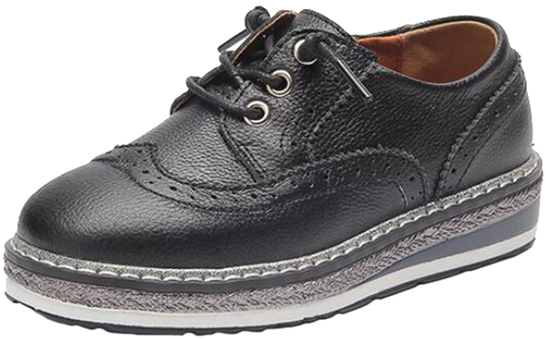 PPXID Boy's Girl's Preppy Style Lace up Leather Platform Brogue Carving Oxford Shoes-Black 4 US Size