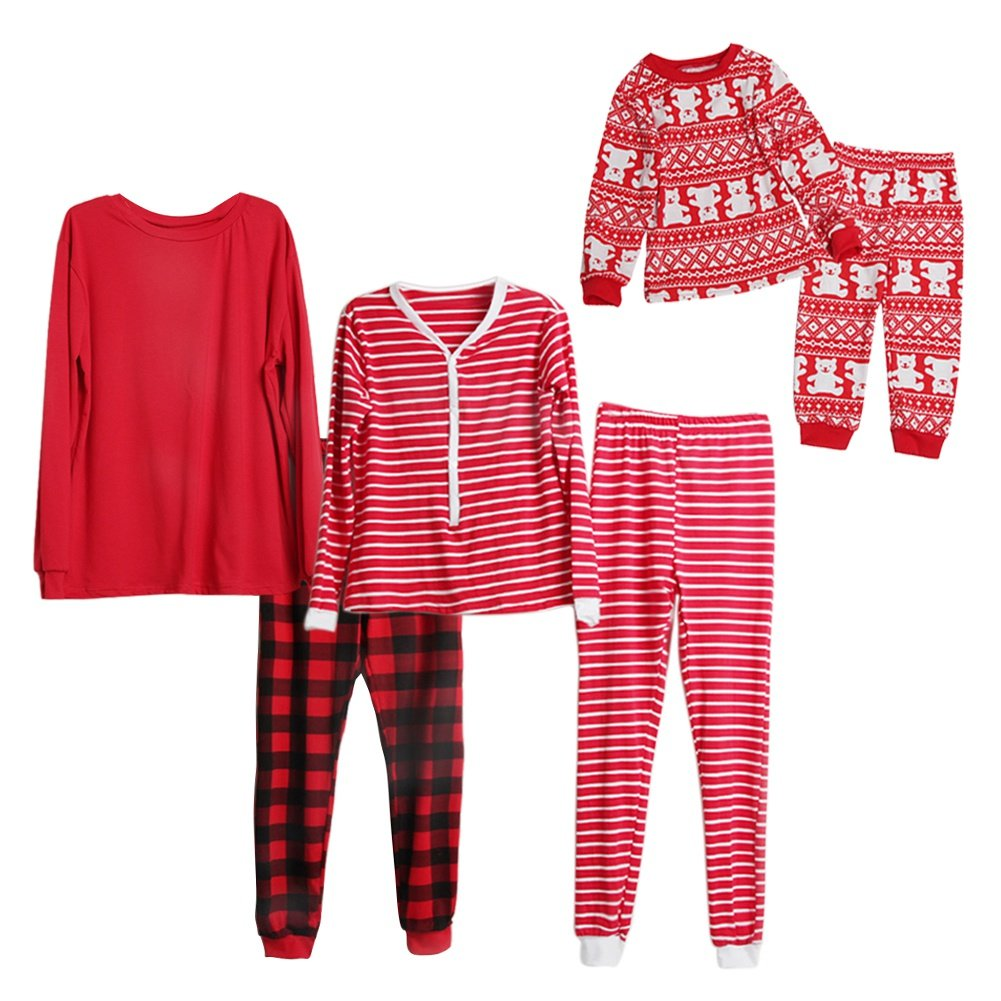 Daxin Family Matching Clothes Santa Suit Christmas Matching Family Pajama Set red