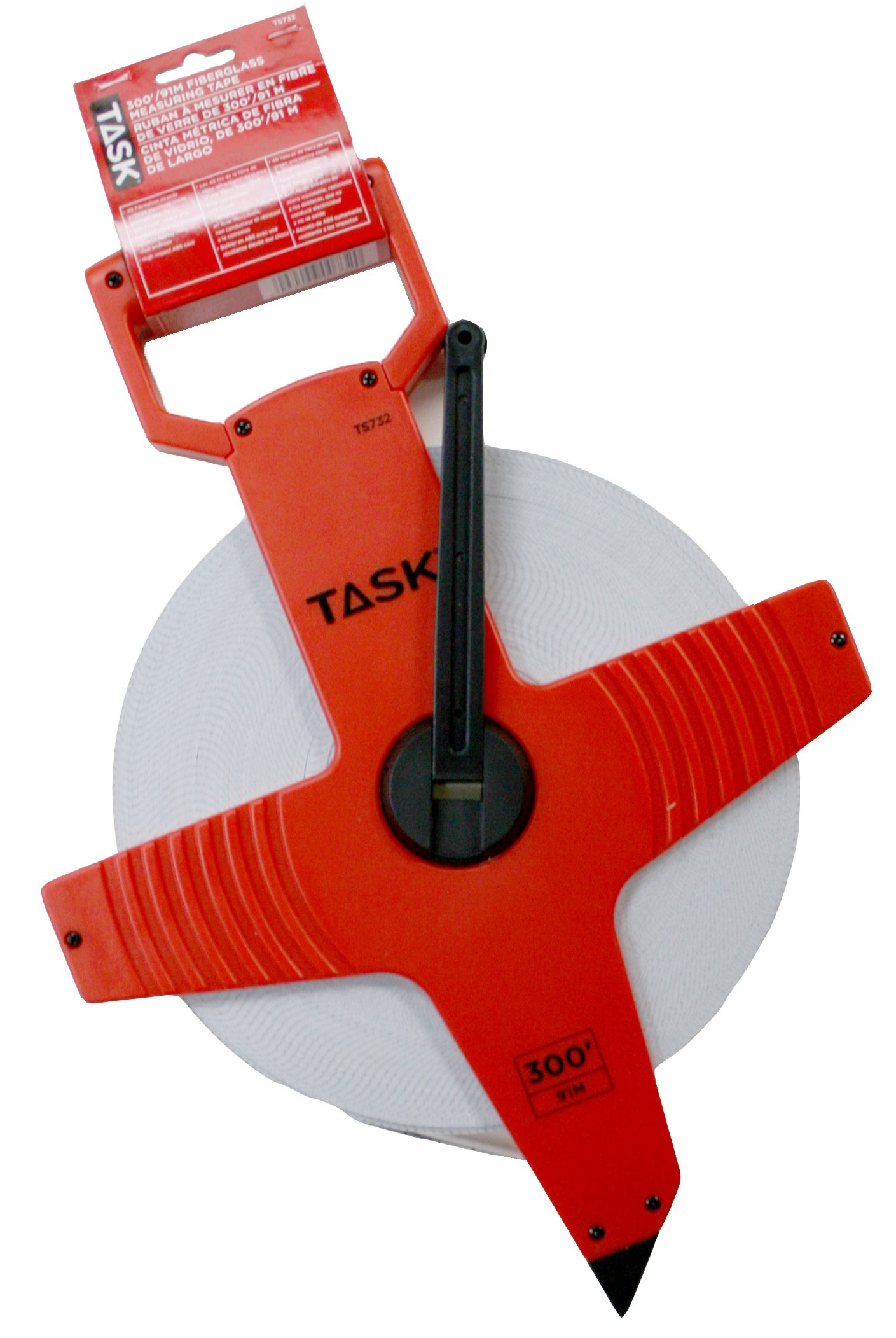 Task Tools TS732 300-Feet Open Reel Fiberglass Tape Measure