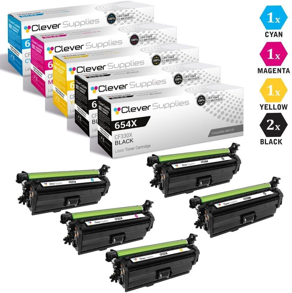 HP 654A CF330X Black CF331A Cyan CF333A Magenta CF332A Yellow Color Laserjet Enterprise M651dn M651n M651xh M680dn M680f 5 Color Set CS Compatible Toner Cartridge Replacement for HP 654X