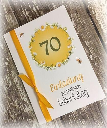 Einladung Einladungskarte Blumen Bienen Runder Geburtstag 40 50 60