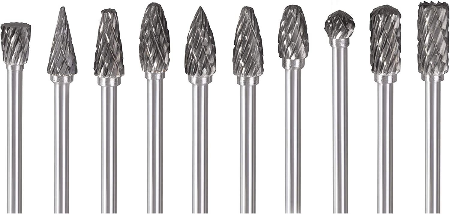 CBDRY 10pcs Carbide Burr Set 1//8 Inch Shank Double Cut Tungsten Carbide Rotary Files Burrs Diameter Fits Most Rotary Drill Die Grinder for Carving and Drilling