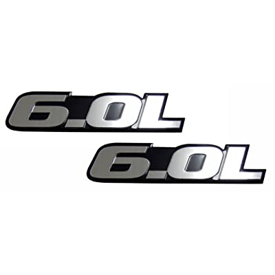 2 x 6.0L Liter Engine Silver Aluminum Badge Emblems (Pair/Set of 2) for Ford Excursion F250 F350 Turbo Diesel Super Duty Truck Power Stroke Diesel Engine Fits Other Vehicles
