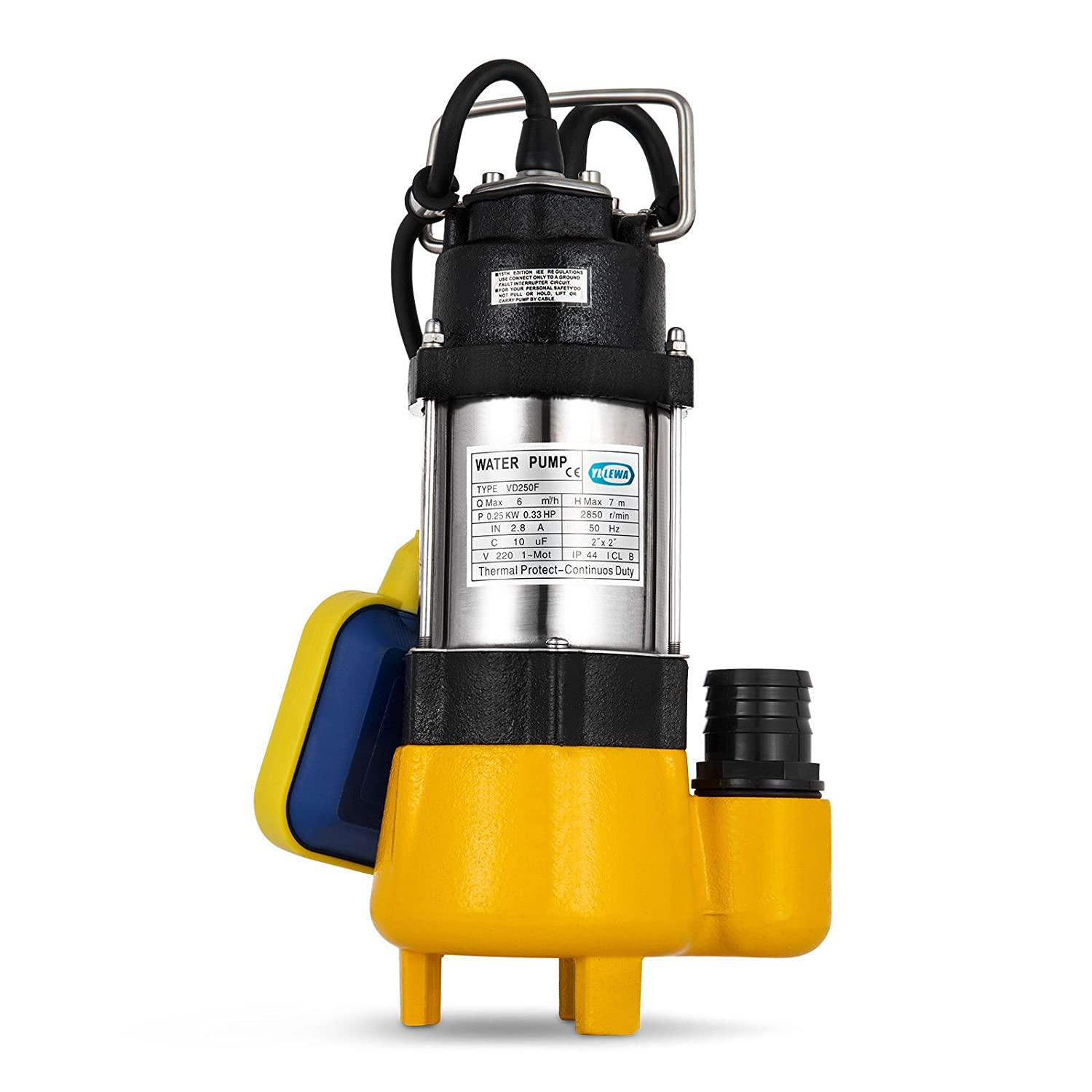 Techlifer Submersible Water Pump 250W Submersible Sewage Pump Stainless Steel Electric Pump for Dirty Soiled Dirty Water Drain Septic Sump Pump with Floating Switch (250W)