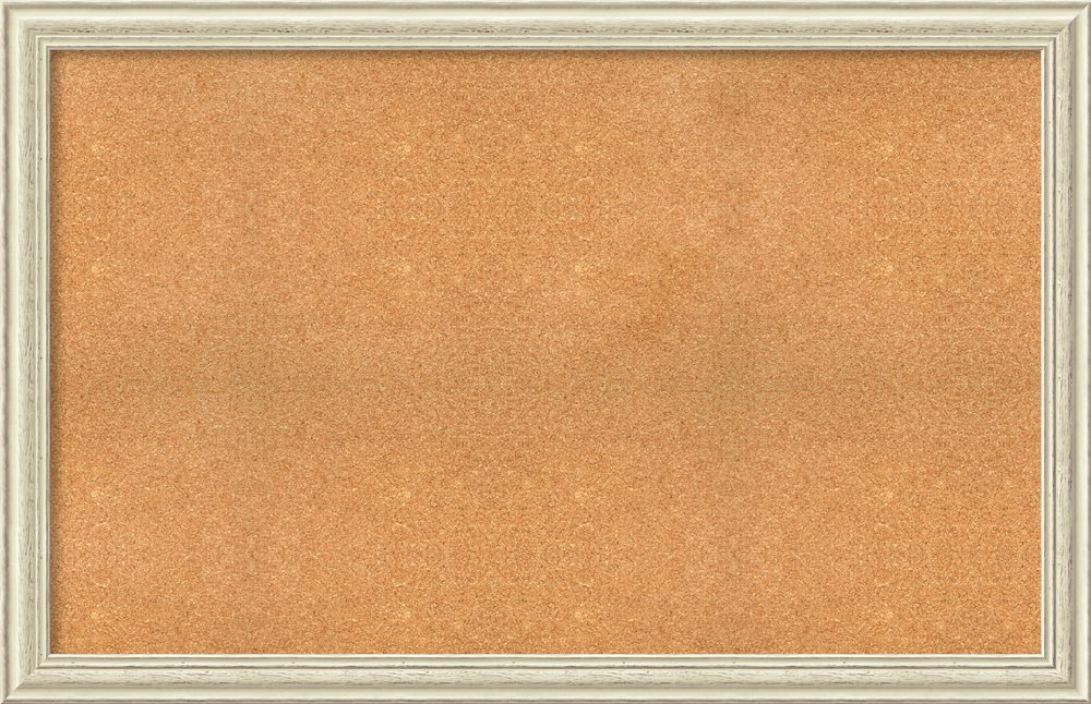 Framed Natural Cork Board Bulletin Board | Natural Cork Boards Country White Wash Frame | Framed Bulletin Boards | 56.25 x 36.25'' by Amanti Art