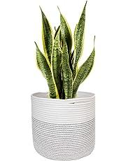 Goodpick Sturdy Jute Cotton Rope Plant Basket - Modern Woven Basket for 25CM Flower Pot Floor Indoor Planters, 28CM x 28CM Storage Organizer Basket Rustic Home Décor