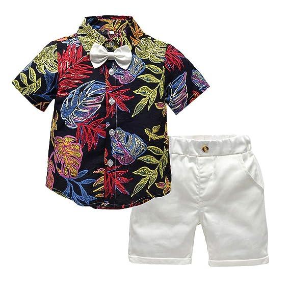 Baiomawzh Ropa Bebe Niño Verano 1 a 2 3 4 5 años-Camisa Mangas Cortas Camiseta Algodón Blusa Bowknot con Estampado Tops Chaleco+Pantalones Cortos ...