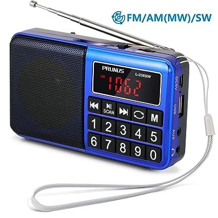 Mini Altavoz PRUNUS Radio Reproductor MP3 SW Am FM con Puerto para Tarjeta TF/Memoria