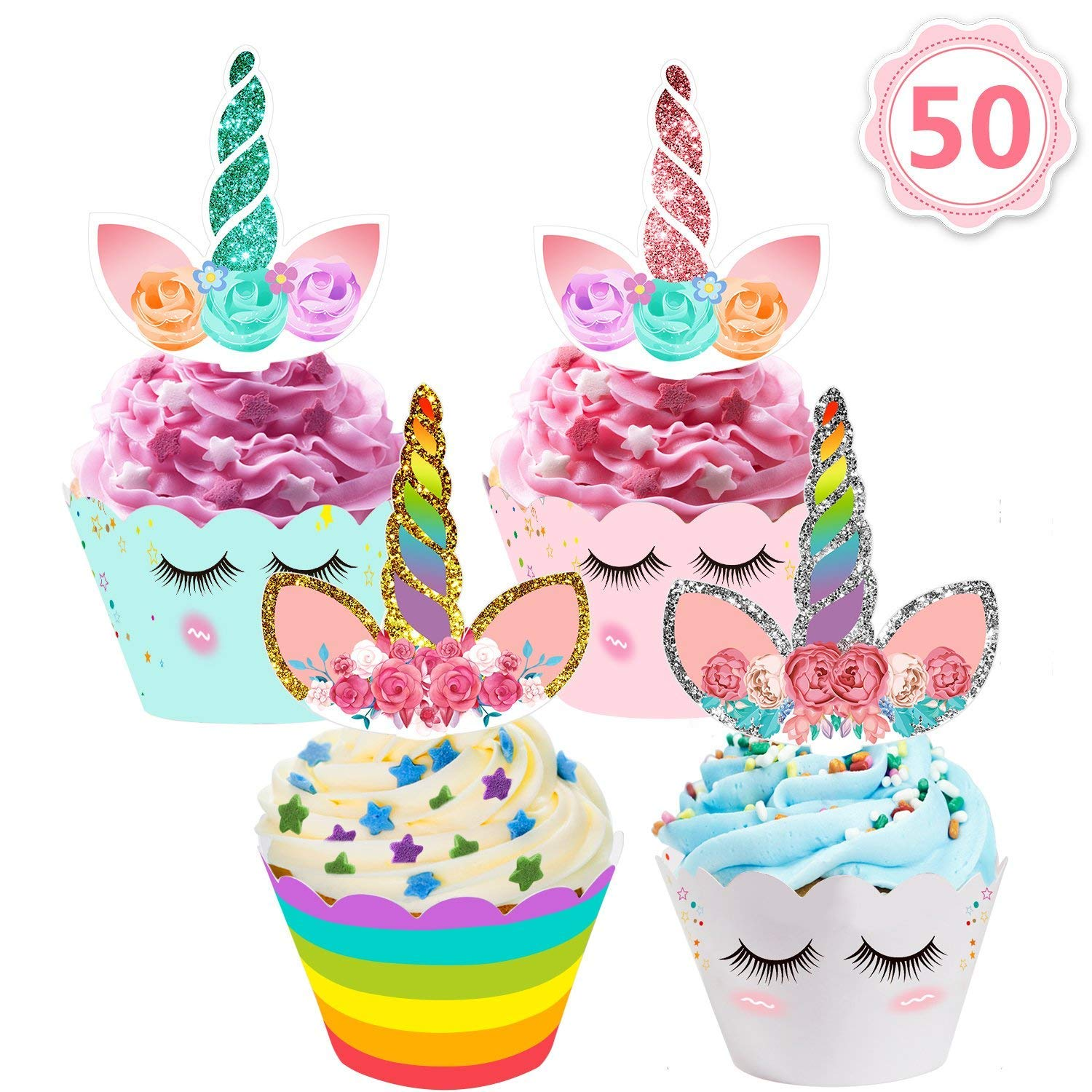 MIBOTE (70PCS) 50 Pack Unicorn Cupcake Toppers and Wrappers + 20 Pack 12'' Unicorn Balloons Party Supplies Set for Women Kids Baby Shower Birthday Party Favor by MIBOTE