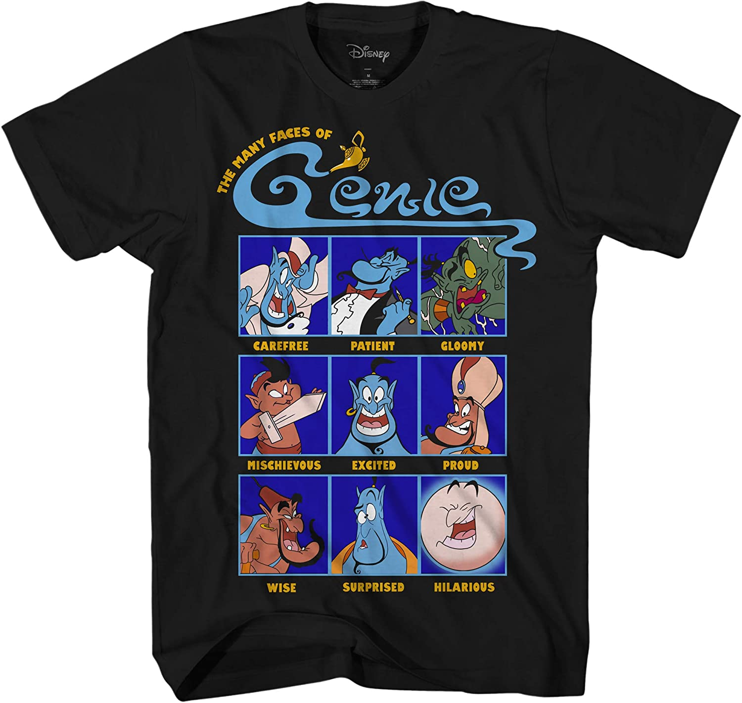 Disney Aladdin Faces Moods of Genie Graphic Adult T-Shirt