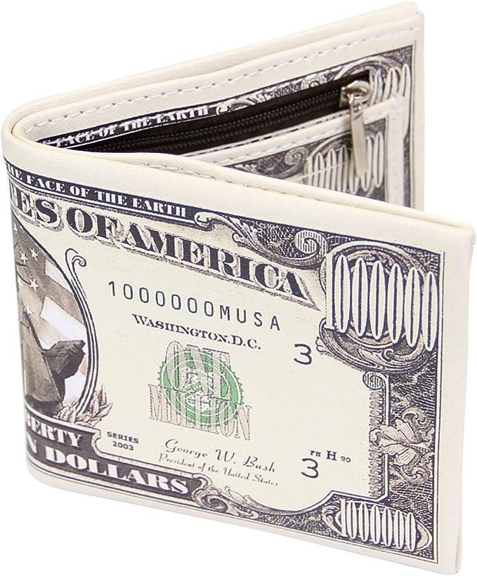 1 Pc US Dollar Bill Wallet Brown PU Leather Wallet Bifold Credit Card Holder CF