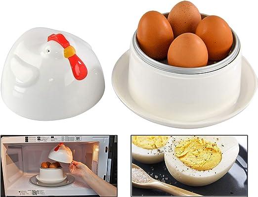 Home-X Jumbo - Caldera para huevos en forma de gallina con tapa, para cocinar 1 a 4 huevos, para hacer huevos cocidos rápidamente, utensilios de ...