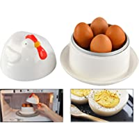HOME-X Jumbo - Hervidor de huevos en forma de gallina para microondas con tapa, para cocinar de 1 a 4 huevos, para hacer…