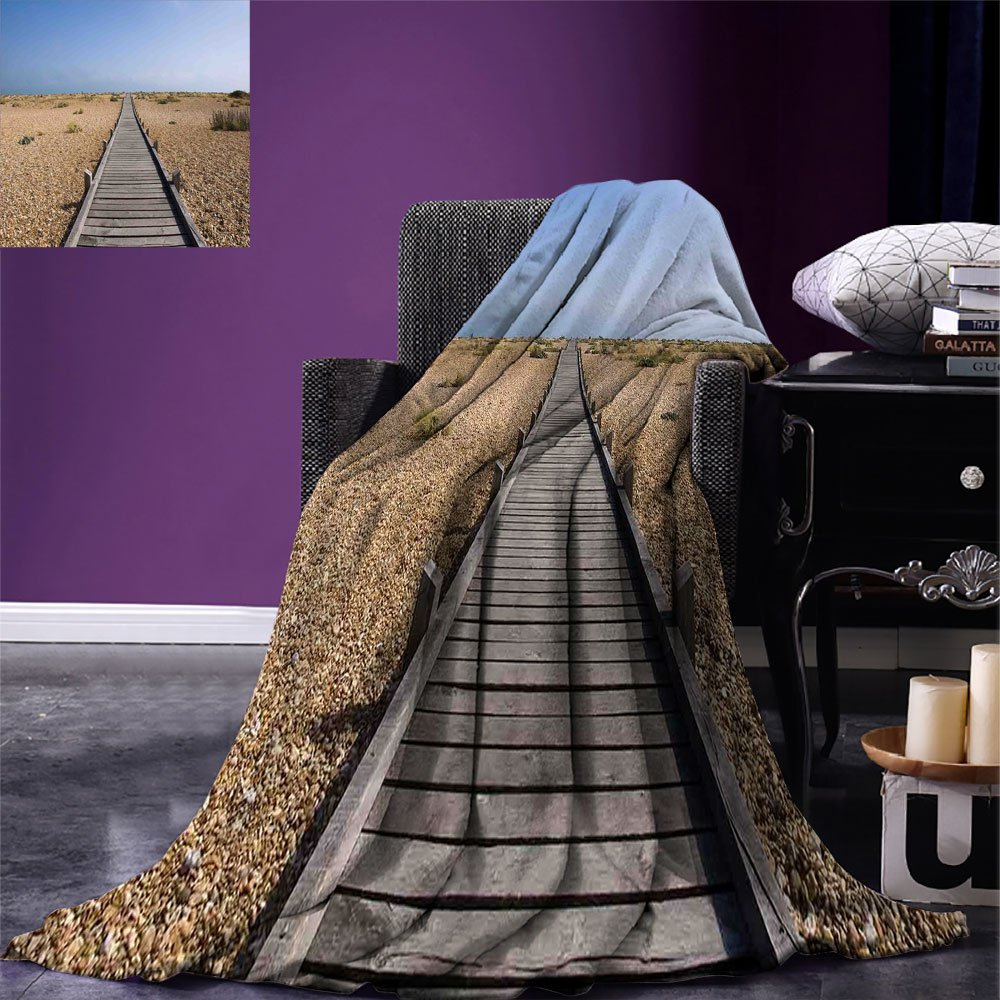 smallbeefly Beach Super Soft Lightweight Blanket Raised Wood Boardwalk across a Pebble Coastline Stone Endless Road Nature Theme Oversized Travel Throw Cover Blanket Blue Brown Cream by smallbeefly (Image #1)
