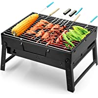 Foldable Barbecue and Tandoor Grill Briefcase Style Charcoal BBQ Stand for for Outdoor Cooking Camping Hiking Picnic Garden Travel