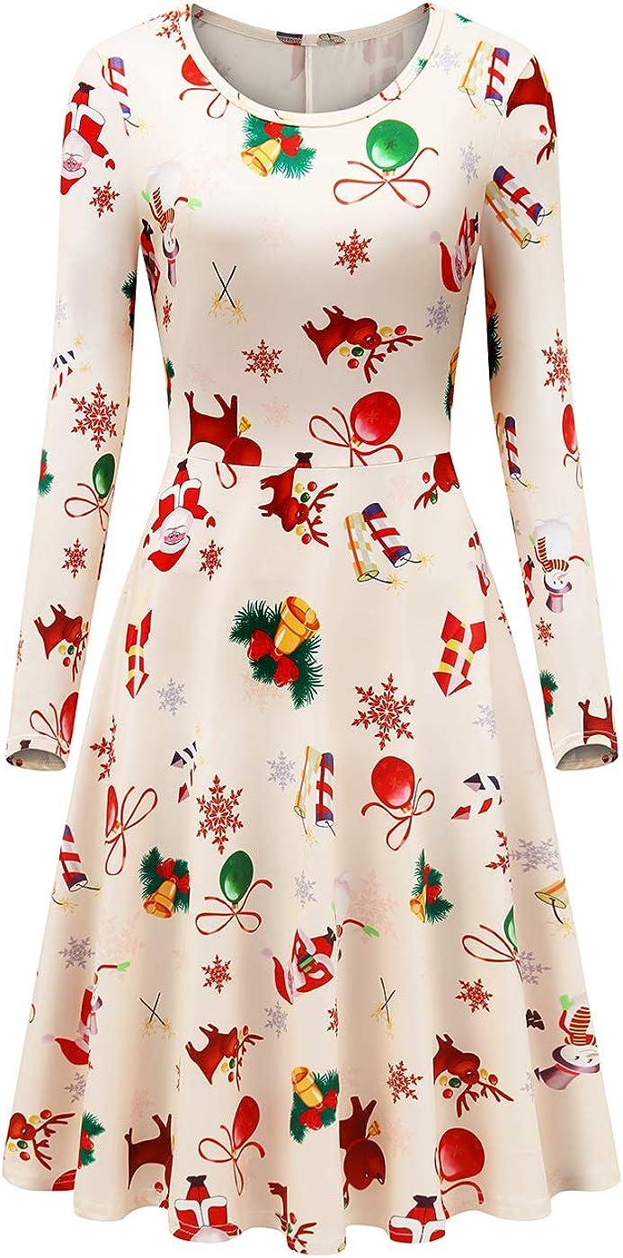 Womens Ladies Long Sleeve Reindeer Christmas Swing Xmas Flared Skater Dress