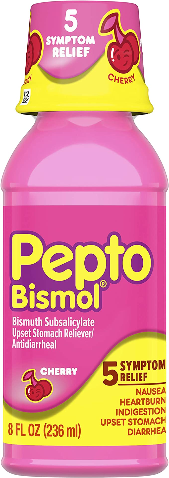 Amazon Com Pepto Bismol Liquid For Nausea Heartburn Indigestion Upset Stomach And Diarrhea Relief Cherry Flavor 8 Oz Health Personal Care
