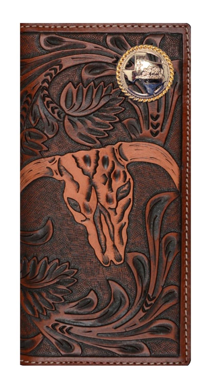 Custom 3D Belt Company New Texas Praying Cowboy Church Brown and Tan Cow Skull Wallet