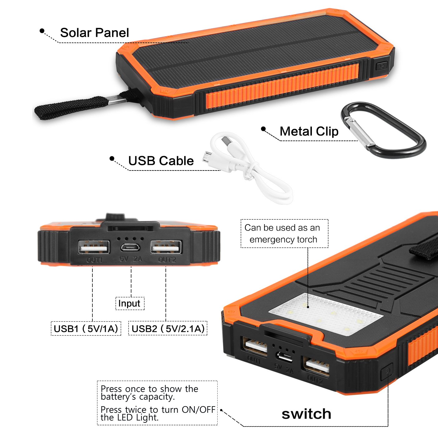 Solar Charger Friengood 15000mAh Portable Solar Power Bank Dual USB Ports Solar Phone Battery Charger with 6 LED Flashlight Light for iPhone, iPad, Samsung and More (Orange) by Friengood (Image #5)