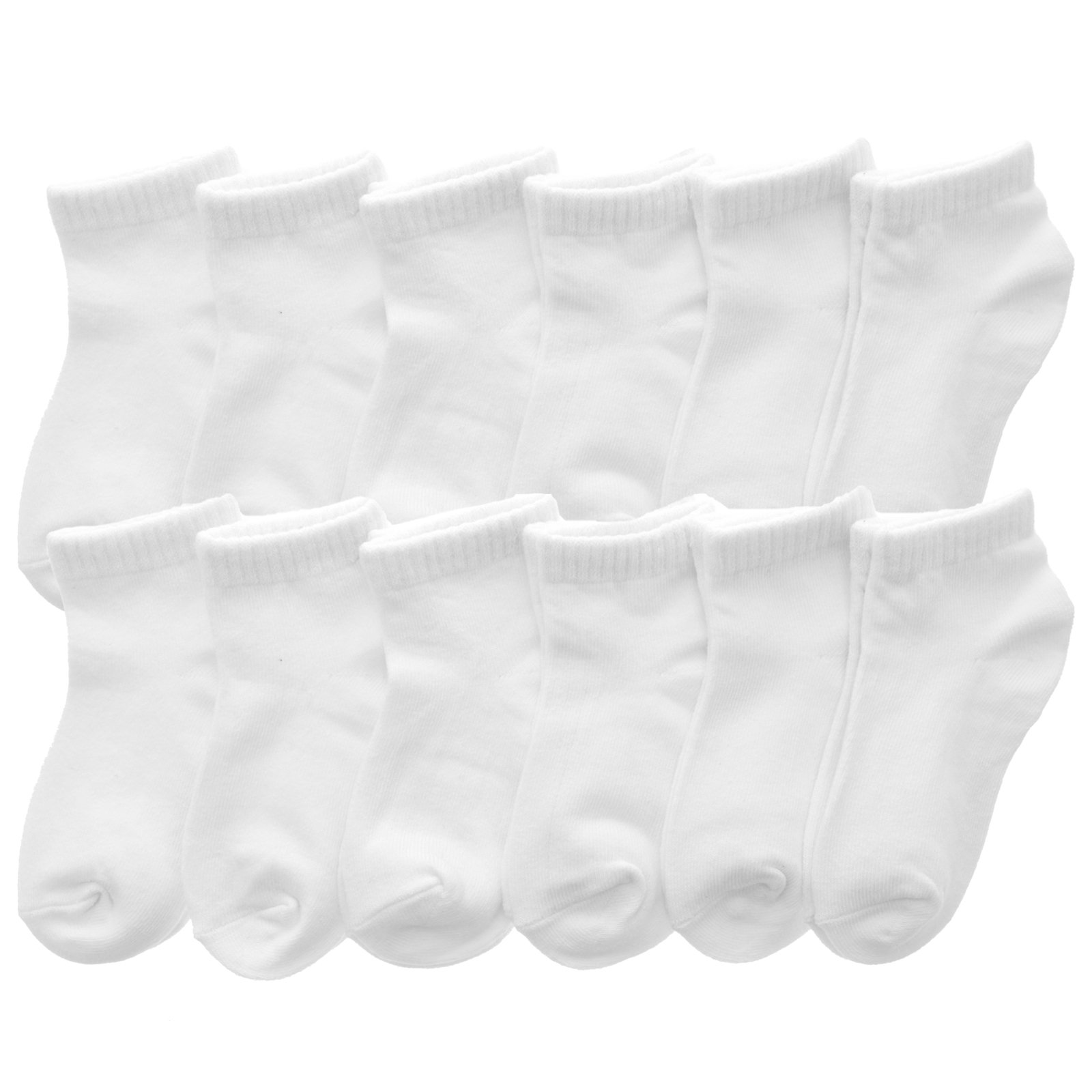Angelina Cotton Low Cut Trainer Socks (12-Pack), 2305_WHT_6-8