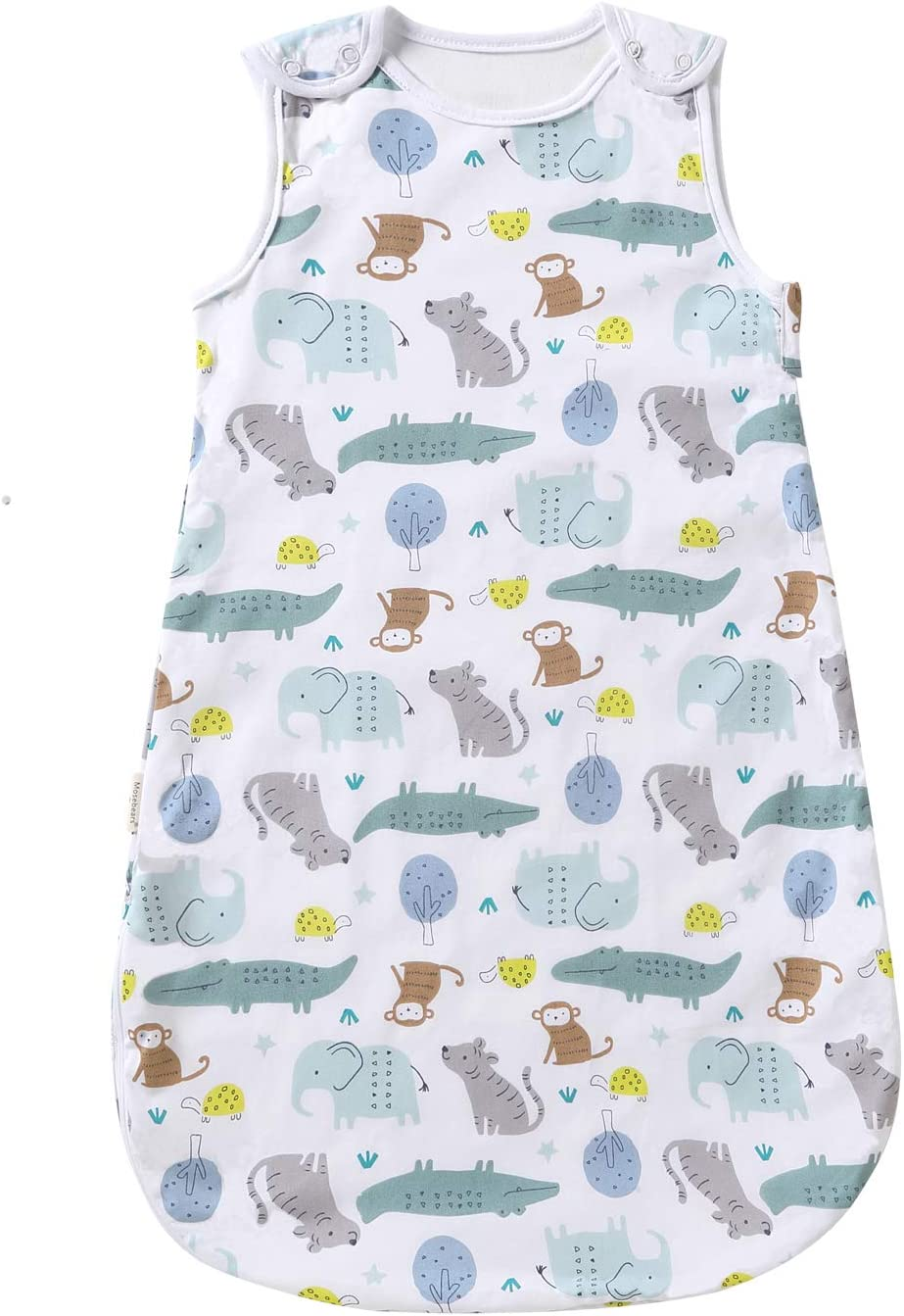 dise/ño de dibujos animados para beb/é para primavera//verano sin mangas blanco Para/íso de animales Talla:S//0-6 Monate Saco de dormir para beb/é lavable 1,0 tog