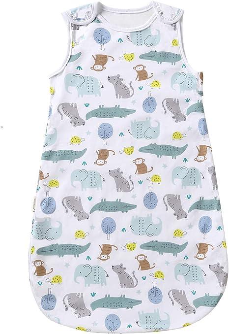 Saco de dormir para bebé para verano, primavera, Animal dibujos animados, manta lavable 1,0 tog, saco de dormir sin mangas (0 – 6 meses, paraísos animales): Amazon.es: Hogar