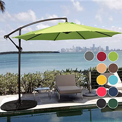 Sundale Outdoor 10 Feet Aluminum Offset Patio Umbrella With Crank And Cross  Bar Set, Cantilever