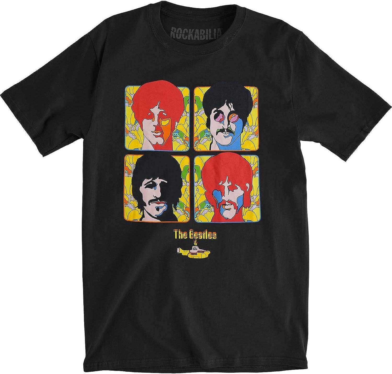The Beatles Four Portraits Yellow Submarine T-Shirt Black (Large)