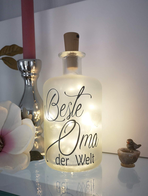 Beste Oma LED Leuchte Leuchtflasche Bottlelight Lichterkette Geschenk Flaschenlicht Homedeco modern AScreativ Dekoflasche mit Beleuchtung