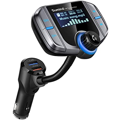 (Upgraded Version) Sumind Car Bluetooth FM Transmitter, Wireless Radio Adapter Hands-Free Kit with 1.7 Inch Display, QC3.0 and Smart 2.4A USB Ports, AUX Output, TF Card Mp3 Player(Silver Grey): Car Electronics