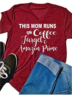 31750b197f This Mom Runs On Coffee Target T-Shirt Funny Letter Print Short Sleeve V  Neck