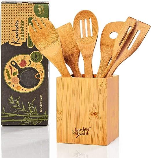 Bambuswald© - Juego de 6 utensilios de cocina ecológicos con caja de almacenamiento, cubiertos de cocina de bambú 100% sostenible: Amazon.es: Hogar