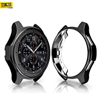 Taslar Slim Plated Soft TPU Case Scratch-Proof Cover All-Around Protective Bumper Shell for Samsung Gear S3 Smartwatch/Galaxy Watch 46mm (Black)
