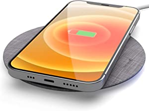 Wireless Charger Compatible with iPhone 12/ Pro/Mini/Max/iPhone 11, Charging Qi Pad with Power Cable, 15W Fast Charge Compatible (No AC Adapter) Space Gray