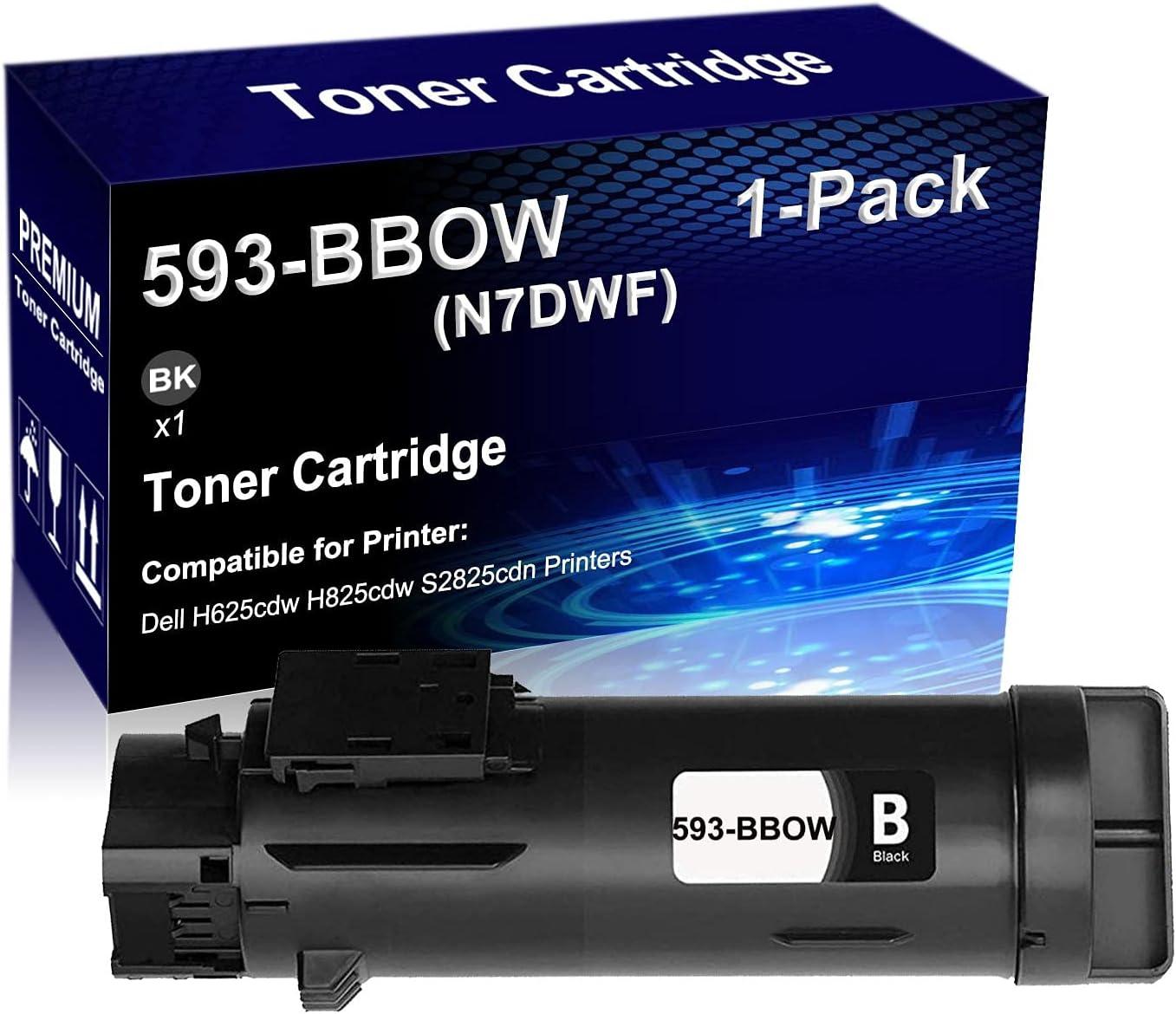 1-Pack (Black) Compatible High Yield 593-BBOW N7DWF Black Toner Cartridge use for Dell H625cdw H825cdw S2825cdn Printer (Photos-Vivid)