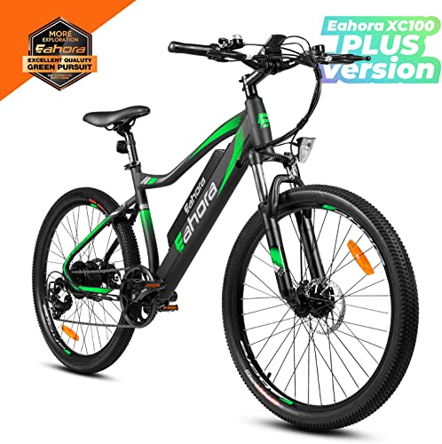 Eahora 26 Inch Mountain Electric Bicycle 48V 10.4AH Removable Lithium-ion Battery Electric Bike for Adult Smart EPAS Assisted System 350W E-Bike 7 Speed Shifter, Plus Version