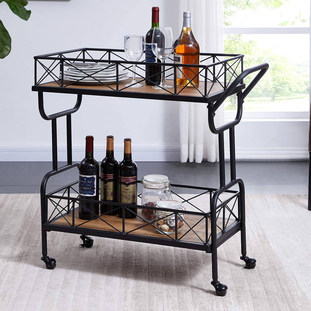 Homissue Kitchen Bar Cart on Wheels, Industrial Style Rolling Serving Bar Cart with Rack, Brown by Homissue
