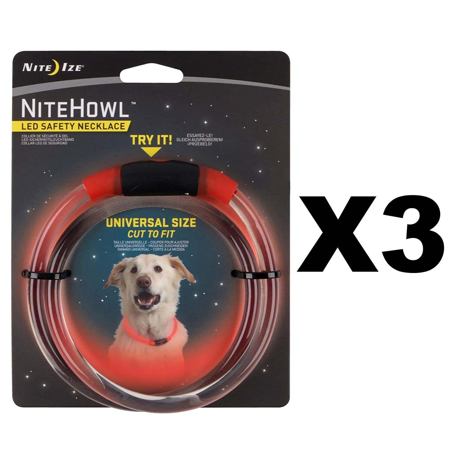 Nite Ize NHO-10-R3 Red NiteHowl LED Pet Safety Necklace