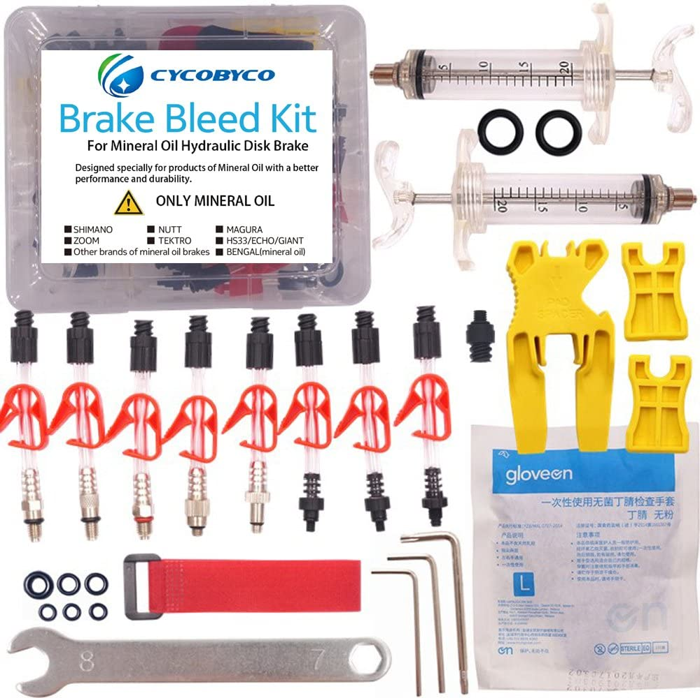 Kit de freno hidráulico para bicicleta de aceite mineral para todas las series Shimano/Magura/Tektro/ZOOM/CSC/ECHO/GIANT/HS33/NUTT, kit de purga de freno de ciclismo, de Cycobyco