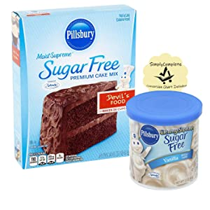 Pillsbury Sugar Free Devil's Food Moist Supreme Cake Mix and Cupcake Mix with Vanilla Frosting and 1 SimplyComplete Conversion Chart Bundle