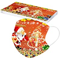 Adults Disposable Christmas Mask - Santa Claus Snowman Decorative Masks 3-Layer Dustproof Face Cover for Women 10PCS
