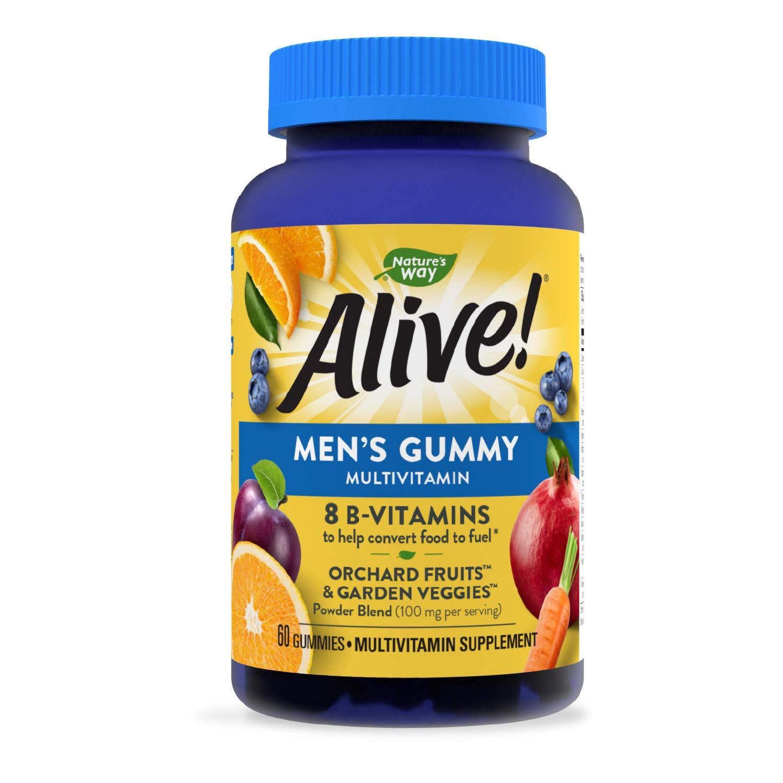 Nature's Way Alive! Men's Gummy Multivitamin, B-Vitamins, Delicious Fruit Flavors, 60 Gummies
