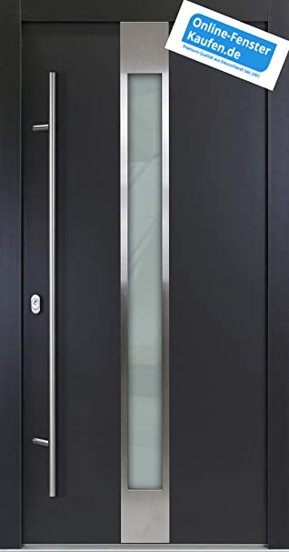 Aluminium Haustür AR G 05/68 68 Mm Anthrazit Energiesparhaustür Mit  Edelstahl Stoßgriff