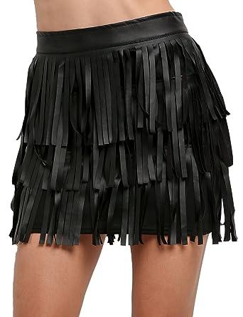 cooshional Sensual mini Falda negra femenina de borlas de cuero ...