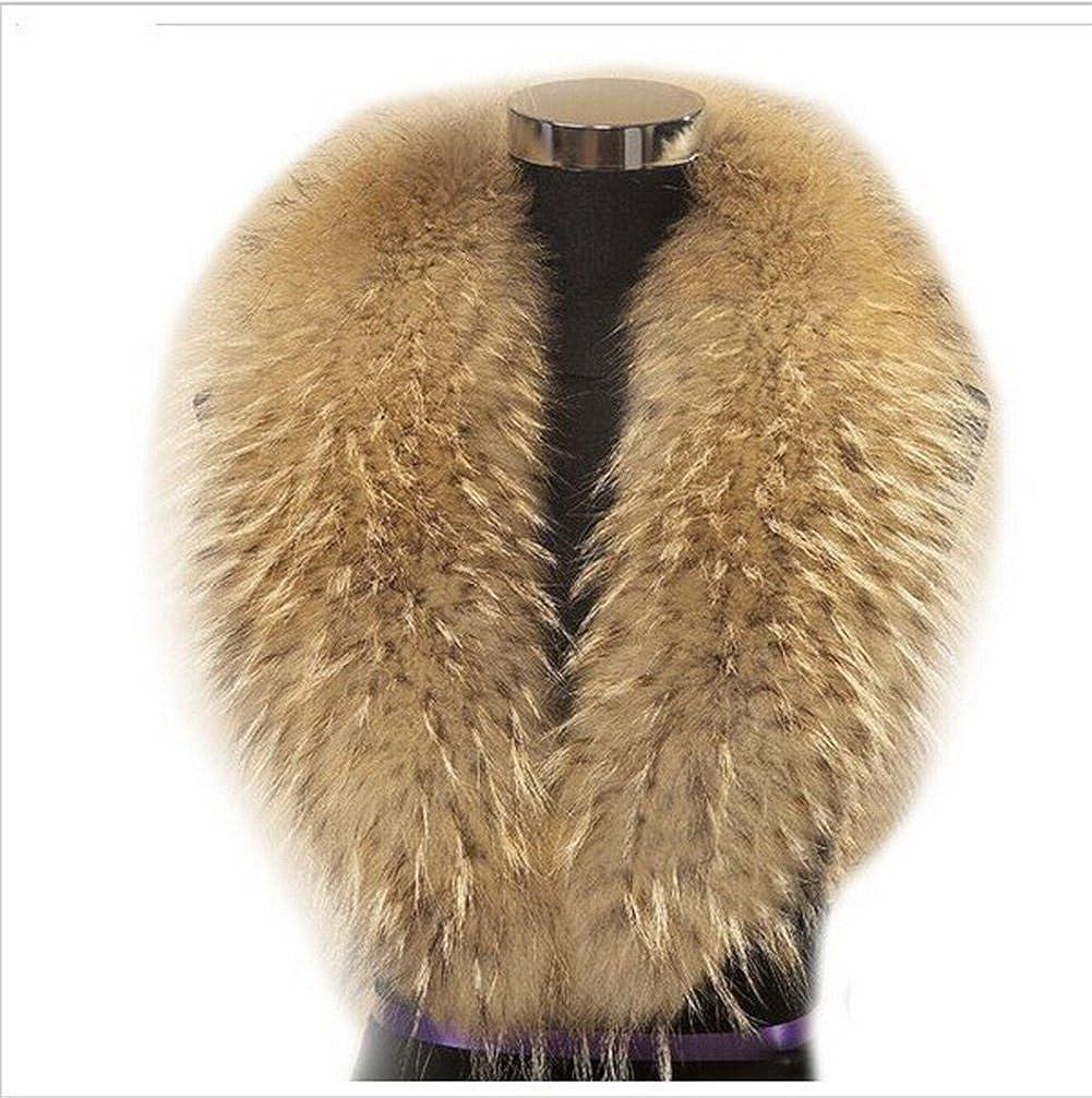 gegefur Natural Raccoon Large Real Fur Collar for Winter Coat Scarf